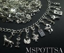 40 Mixed Bracelet Clip Ons Charms Silver Zipper Pulls Purse Charms Pendants lot