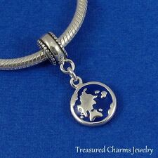 .925 Sterling Silver BLUE EARTH GLOBE Dangle Bead CHARM fits EUROPEAN Bracelet