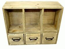 Vintage Retro Rustic Shabby Chic Wooden 3 Drawers Cabinet Storage Organiser