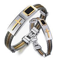 Fashion 316L Stainless Steel Bracelet Band Cross Jewelry Women Men Bangle Dress