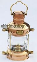 Nautical Brass & Copper Anchor Oil Lamp, Maritime Ship Hanging Lantern