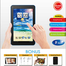 "9"" Quad Core Tablet 8GB Wi-Fi Dual Camera Android 4.4 HD w/Bundle Bonus - Black"