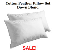 2 Pack 100% Cotton Cover Premium™ Feather Bed Pillows Standard / Queen King Size