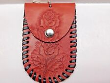 Genuine Leather Scarlet Red Rose Coin/Key Holder with Black Lace Stitching