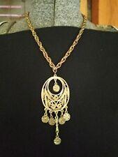 Vintage Goldtone large Egyptian Revival necklace estate