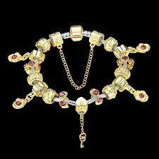 18K Yellow Gold Filled Charm Bead Lady Elegant Pink Love Flower Bracelet BL318