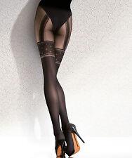 Collant Femme microfibre Motif bas fantaisie  Fiore 40Den Noir