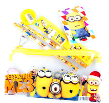 new 1 set (7 in 1) the minions kids Stationery Set pencil ruler eraser notebook