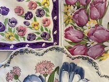 Three Vtg Fabulous Tulips Galore Handkerchief/ One Round