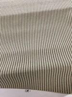 Farm  Ticking Stripe Railroaded Slight Irr Cotton Duck Drapery Fabric Tan/sage