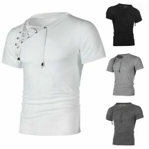 Fashion Men's Muscle T-shirt Casual Fitness Bandage Short Sleeve Shirt Tops Tee