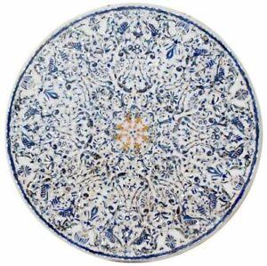 "60"" marble Table Top semi precious stones floral inlay work handmade decor"