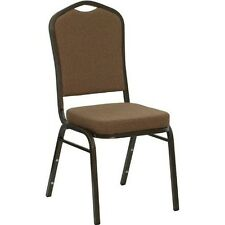 Crown Back Stacking Banquet Chair in Coffee Fabric with Gold Vein Frame