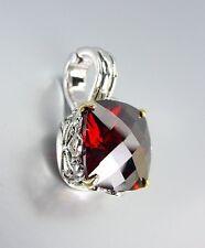 Designer Style Silver Gold Balinese Filigree Garnet Red CZ Crystal Pendant