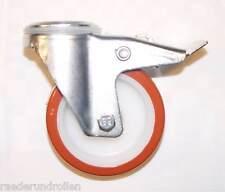 Transportgeräterolle Polyurethanbereifung 160 mm Rückenloch Lenkrolle mit Bremse