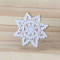 4Pcs/Lot White Vintage Cotton Hand Crochet Lace Doilies Cup Mats Snowflake 6inch