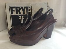 100% Leather Peep-toe Slingback Shoes By FRYE Left Shoe-Size 8UK Right 9UK WIDE