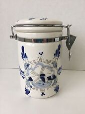 """Blue & White Handpainted 6"""" Storage Canister Jar for Coffee or Teabags (BC)"""
