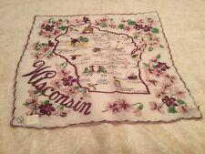 Vintage Ladies Souvenir State Handkerchief Hanky Wisconsin Unused Nice Tagged