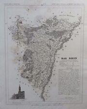 Carte Département BAS RHIN gravée sur acier par Alés Petit Atlas National