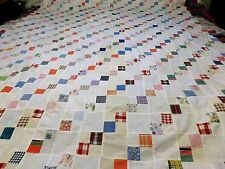 "Unfinished Quilt Top hand Sew patch Work 80"" X 60"" With small Spots Vintage 60's"