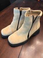 Women's Canadian Suede And Shearling Lined Double Zip Boots~sz 8 B