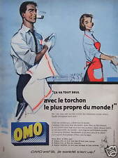 PUBLICITÉ 1958 OMO AVEC LE TORCHON LE PLUS PROPRE DU MONDE - ADVERTISING