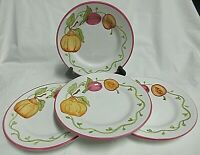 """4VTG  Laura Ashley Luncheon Plates Made in Italy Hand Painted FIG Pattern 7 7/8"""""""