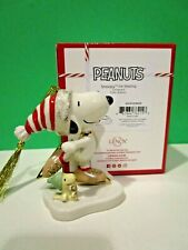 Lenox Peanuts Snoopy Ice Skating Ornament with Woodstock New in Box Dog