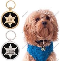 Pet Tag Custom Engraving Sheriff Dog ID Tags Charm Pettag engraved tags