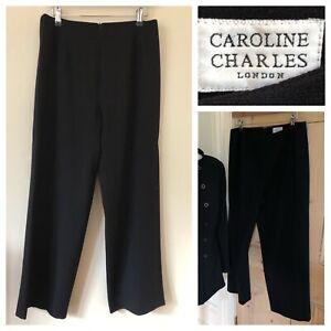 "Caroline Charles Trousers Wide Leg Size 14 100% Wool Short Waist 32"" Leg 27 1/2"""