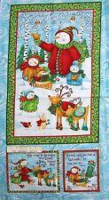 "24"" Christmas Fabric Panel Spectrix Winter Woodland Snowman Reindeer Wallhanging"