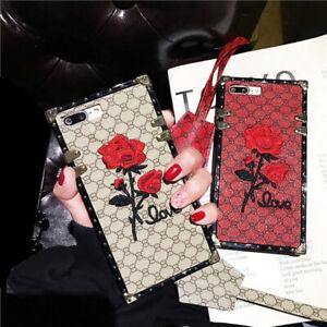 Luxury Retro Rose Square Phone Case For Samsung S21 S20 S10 Plus Note 20 Ultra