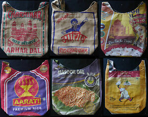 Tasche Öko Einkaufsbeutel recycling Jute & PP viele Muster gebr. Reissäcke Nepal