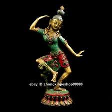 Tibet Bronze inlay turquoise Red coral Gem Dance goddess Kwan-yin Statue 43 CM