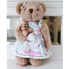Personalised Powell Craft Teddy Bear In Rainbow Unicorn Dress With Baby bear