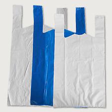More details for 100 plastic vest carrier bags blue or white supermarkets/markets stalls shops