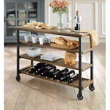 Kitchen Cart Island On Wheels Wine Rack Storage Utility Tv Stand