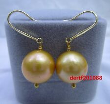 natural AAA 14-13 mm South Sea golden Pearl Earrings 14K YELLOW GOLD