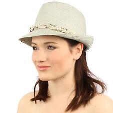 Ladies Removable Cute Floral Elastic Headband Summer Fedora Trilby Sun Hat Gray