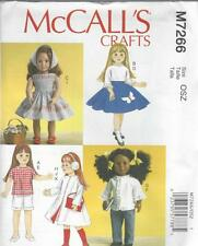 McCALL'S SEWING PATTERN 18 INCH DOLL CLOTHES DRESS TOP SKIRT SHORTS COAT M7266
