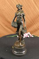 100% Solid Bronze Fair Maiden Farm Girl Lost Wax Method Figurine Statue Figure