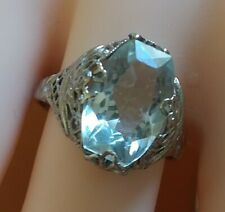 Beautiful 14 k white gold  art deco Aquamarine ring size 6.75, free resizing
