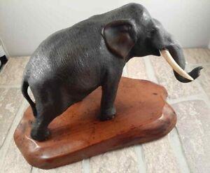 ANTIQUE BRONZE ELEPHANT GENRYUSAI SEIYA MEIJI PERIOD ON WOOD BASE FIGURE