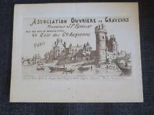 ASSOCIATION OUVRIERE DES GRAVEURS  PARIS ancien petit carton publicitaire