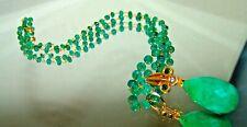 14K Gold Emerald Diamond Briolette Gemstone Necklace