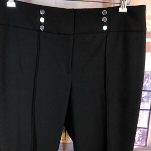 Kasper NWT 16p Black Crop Dressy capri pants 6 Button Accent on waistband petite