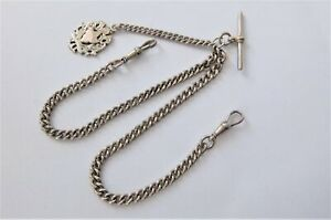 1890 Solid Silver Pocket Watch Double Albert Chain With Silver Fob