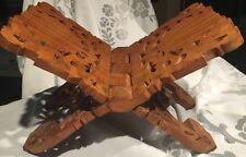 Hand Carved Wooden Wood Bible Stand Book Cookbook Holder India Ornate Teak*