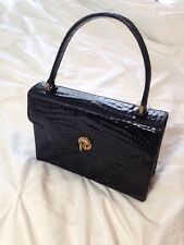 Authentic GUCCI Vintage Black Crocodile Leather Handbag Purse